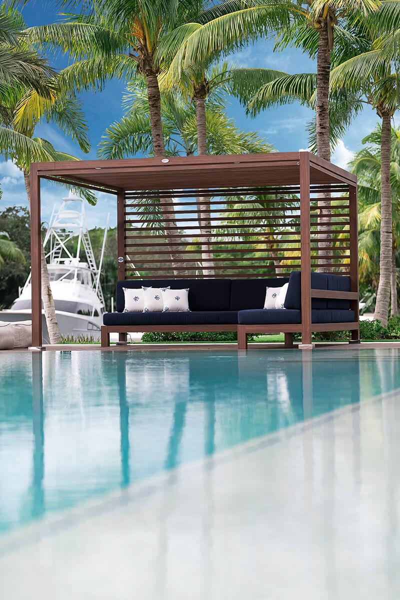 Tuuci equinox outdoor cabanas tuuci for Swimming pool cabanas