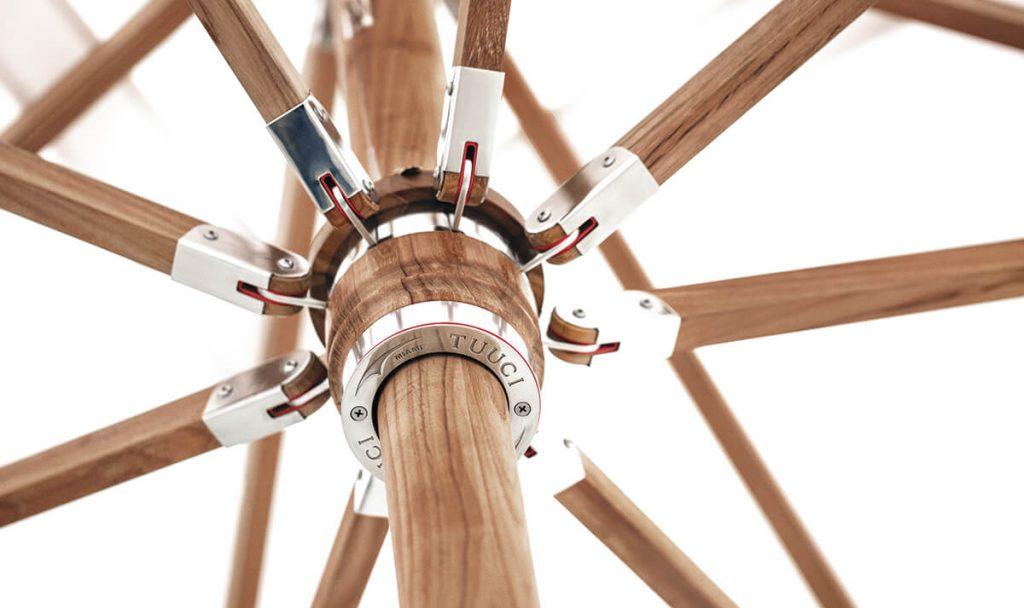 teak wood umbrella struts, tuuci miami inside ocean master, teak metal design